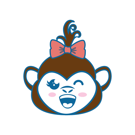 kawaii monkey animal icon over white background colorful design vector illustration