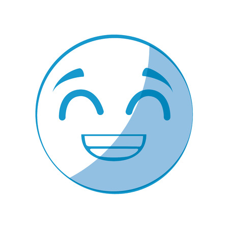 cartoon happy face icon over white background vector illustration