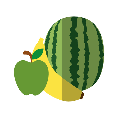 watermelon, banana and pear fruit icon over white background vector illustration Ilustracja