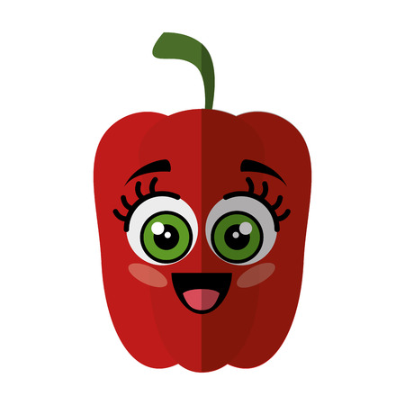 pepper vegetable with cartoon face icon over white background vector illustration 向量圖像