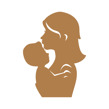 child care: mother holding a baby icon over white background vector illustration