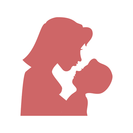 mother holding a baby icon over white background vector illustration