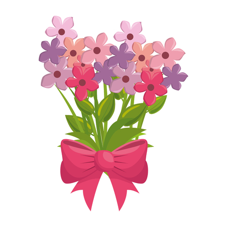 bouquet of beautiful flowers icon over white background colorful design vector illustration