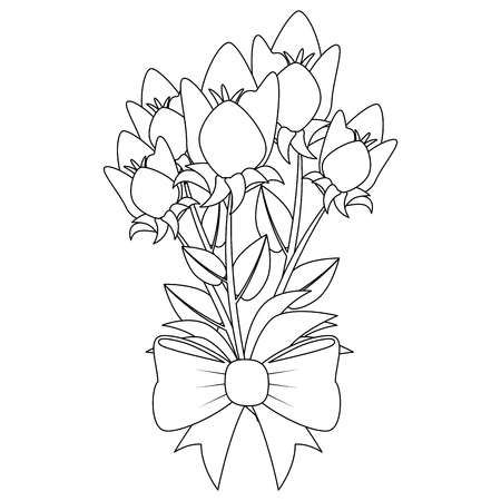 bouquet of beautiful flowers icon over white background vector illustration Ilustrace