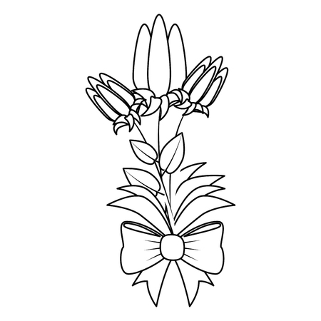 bouquet of beautiful flowers icon over white background vector illustration Ilustração