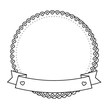 decorative frame with ribbon icon over white background vector illustration