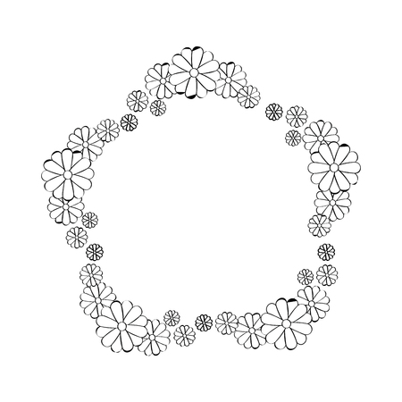 frame in star shape of decorative flowers icon over white background vector illustration Ilustrace