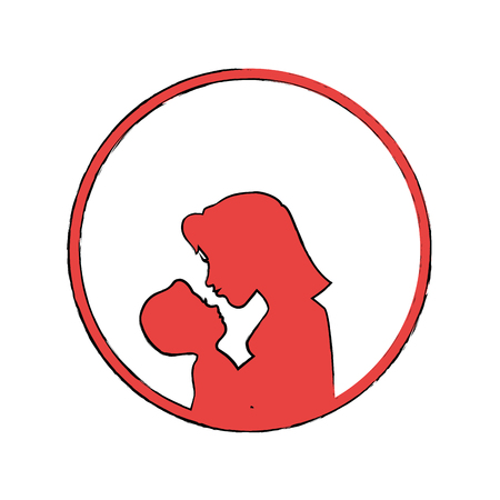 child care: mother holding a baby icon over white background colorful design vector illustration