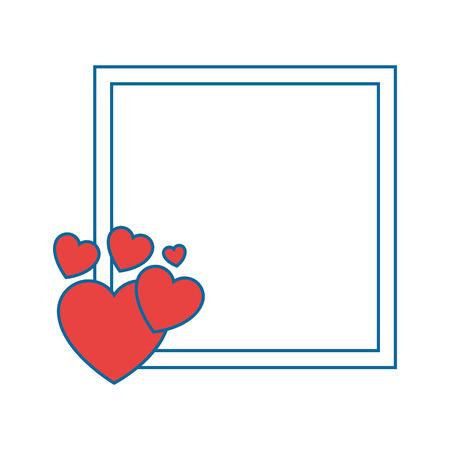 Rahmen mit dekorativen Herzen Symbol auf weißem Hintergrund Vektor-Illustration Standard-Bild - 80683477