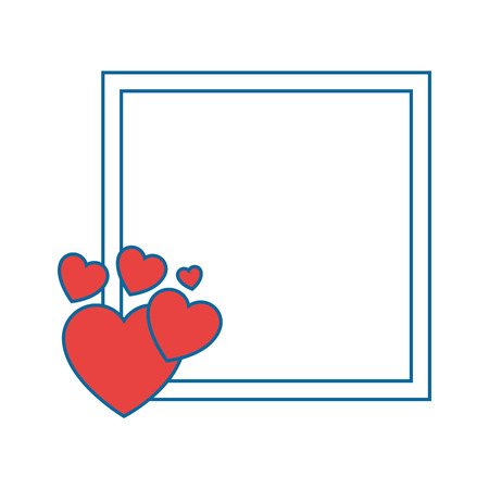 frame with decorative hearts icon over white background vector illustration Illustration