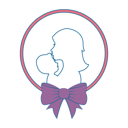 child care: frame with mother holding a baby icon over white background vector illustration Illustration