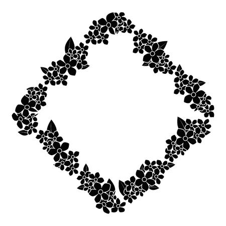 frame of flowers icon over white background vector illustration