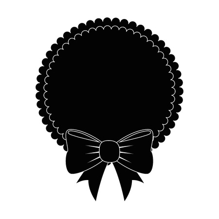 frame with decorative Bow icon over white background vector illustration
