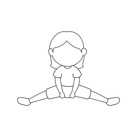 女の子がエアロビクスのアイコン ベクトル イラスト グラフィック デザイン