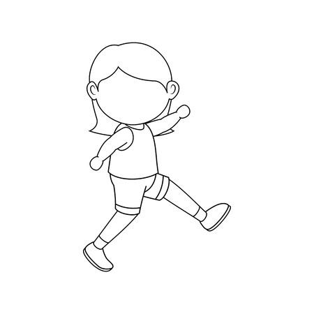 소녀 만화 아이콘 벡터 일러스트 그래픽 디자인을 실행 일러스트