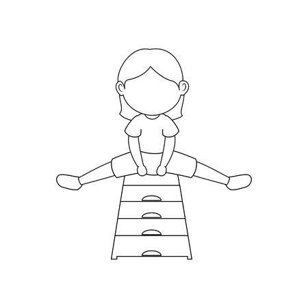 Ragazza che fa aerobica illustrazione vettoriale icona illustrazione grafica Archivio Fotografico - 80683696