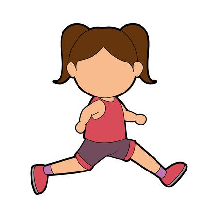 Girl running cartoon icon vector graphic illustration