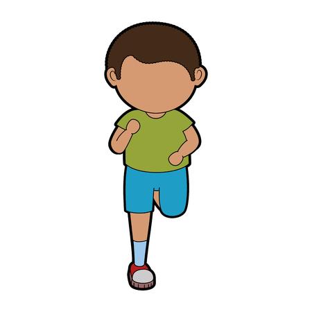 漫画のアイコン ベクトル イラスト グラフィック デザインを走っている少年