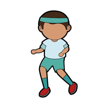 fatigue: boy running cartoon icon vector illustration graphic design