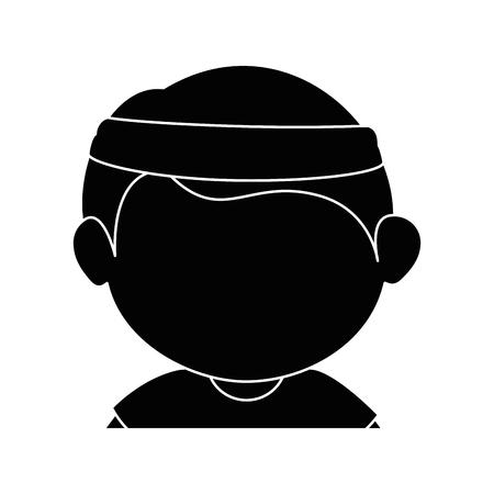 jongen gezicht cartoon pictogram vector illustratie grafisch ontwerp Stock Illustratie