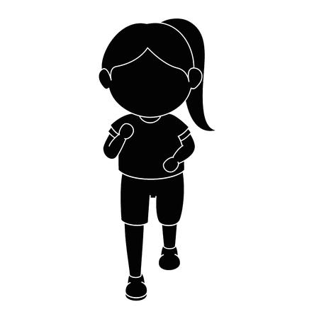 만화 아이콘 벡터 그래픽 일러스트를 실행하는 소녀