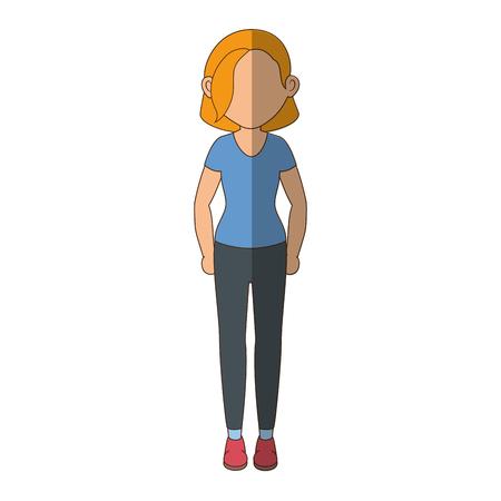 stand up women cartoon icon vector illustration graphic design 向量圖像