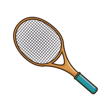 tennis racket icon over white background colorful design vector illustration Illustration
