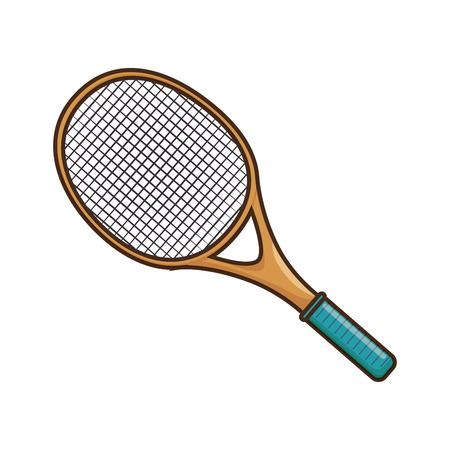 tennis racket icon over white background colorful design vector illustration Ilustração