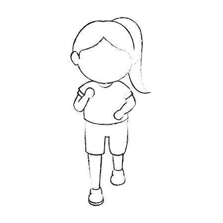 avatar girl icon over white background vector illustration