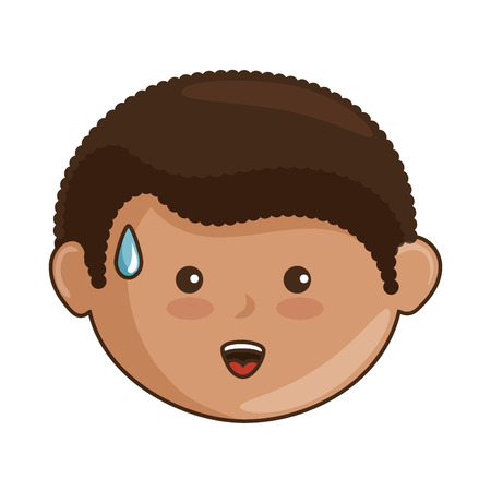 cartoon boy smiling icon over white background vector illustration