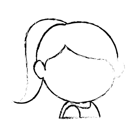 avatar girl face icon over white background vector illustration Ilustracja