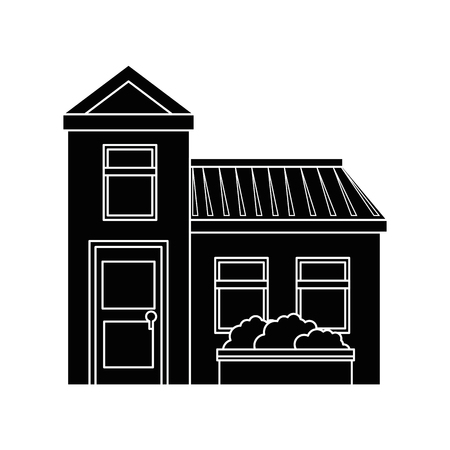 front house: isolated home building icon vector graphic illustration