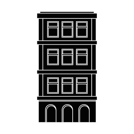 Edificio urbano icono de torre icono de la ilustración vectorial Foto de archivo - 80686631