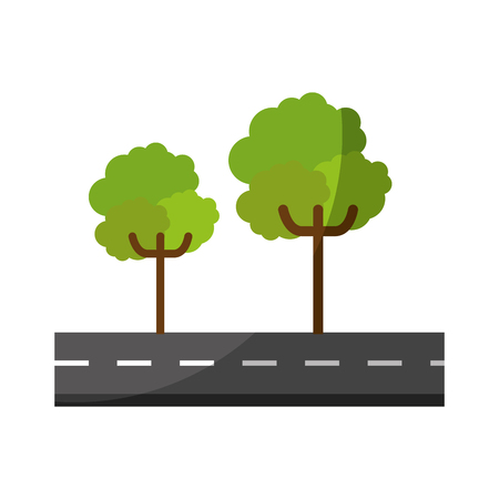 isolated tree on Highway cartoon icon vector graphic illustration