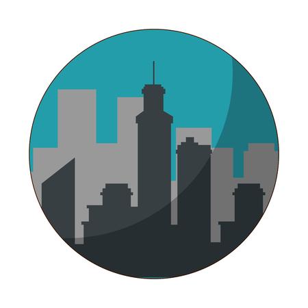city view silhouette icon vector graphic illustration Illustration