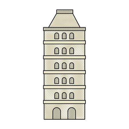 hotel building: isolated building tower icon vector graphic illustration Illustration
