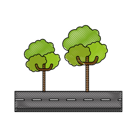 isolated tree on Highway icon vector graphic illustration 向量圖像