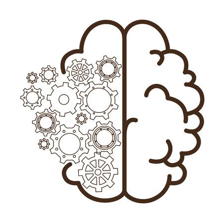 隔離された抽象的な頭脳のアイコン ベクトル イラスト グラフィック デザイン