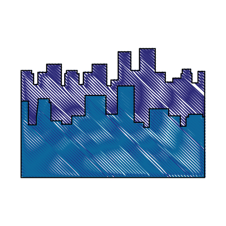 scribble city view icon vector graphic illustration