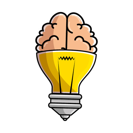 isolated bulb and brain icon vector illustration graphic design