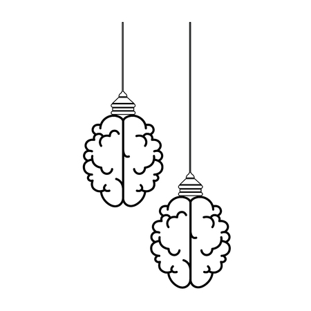 isolated two abstract brains icon vector illustration graphic design