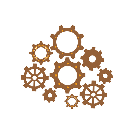 gearwheels: isolated gears set vector illustration graphic design