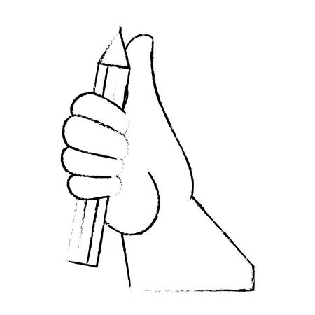 Main ramasser un crayon illustration vectorielle conception graphique Banque d'images - 80688315