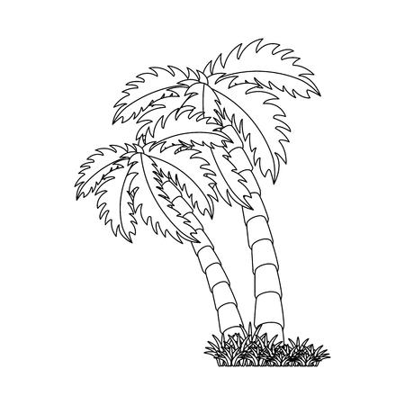 고립 된 해변 야자수 아이콘 벡터 그래픽 일러스트
