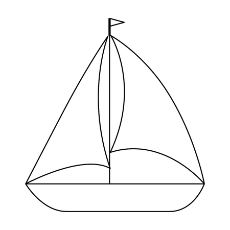 isolated black and white sailboat icon vector graphic illustration