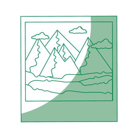 geïsoleerde bergen fotografie pictogram vector grafische illustratie