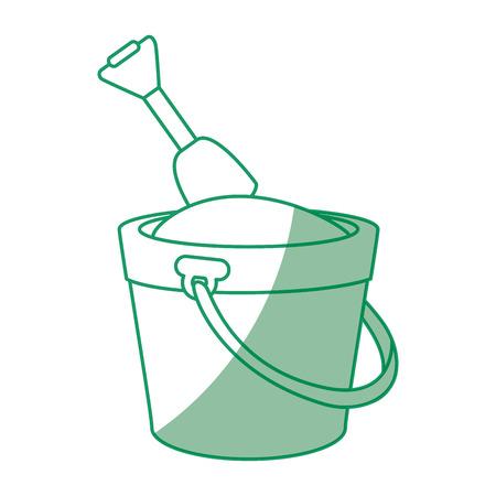 coastal: isolated bucket of sand icon vector graphic illustration Illustration