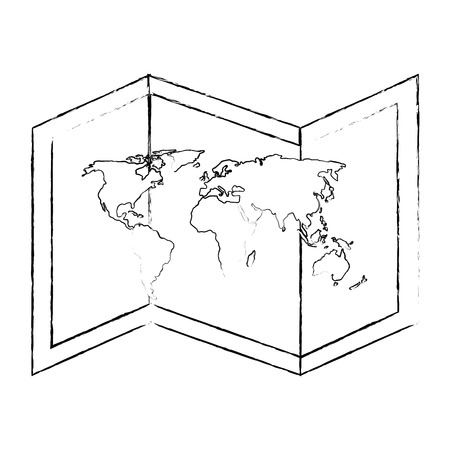 isolated world map icon vector graphic illustration