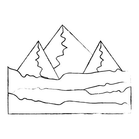 isolated mountains view icon vector illustration graphic design
