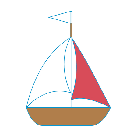 isolated cute sailboat icon vector graphic illustration